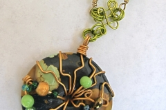 Wire and Bead Wrapped Donut Necklace 1 - WirednTwistednStoned - No Longer in Stock