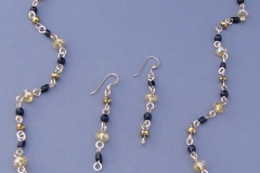 Black & Gold Simple Loop Necklace & Earrings 1 - WirednTwistednStoned