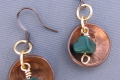 Pennies with Turquoise Chips Earrings 1 -WirednTwistednStoned