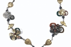 Steampunk Hearts & Wings Necklace - WirednTwistednStoned