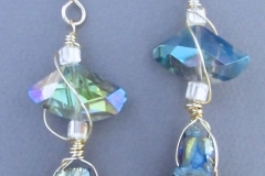 Metallicized Crystal Quartz Earrings - #8-H-009 - $60.00 - C3 - WirednTwistednStoned
