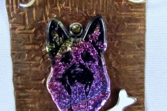 Dichroic Glass German Shepherd Pendant Necklace For Jeanie - WirednTwistednStoned