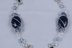 Silver Wire Wrapped Dark Blue Necklace For Bryna- WirednTwistednStoned
