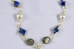 Wire Wrapped In Lapis, Pearls & Pyrite Necklace - WIrednTwistednStoned